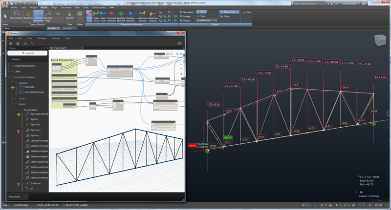 Example of a Parametric Truss using Dynamo + React Structures