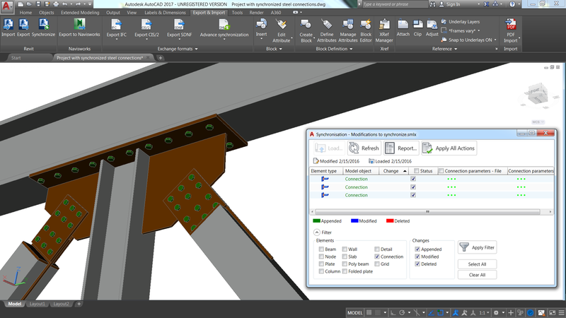 You can now synchronize steel connections between models created in Revit and/or Advance Steel while still keeping them as intelligent parametric connections.