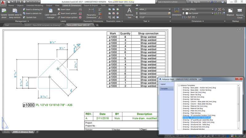 New templates are available to get a list of information about shop connection on fabrication drawings.
